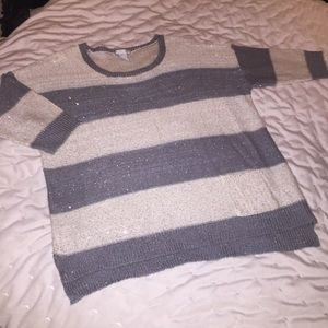 Design History Striped 3/4 Sleeve Sweater